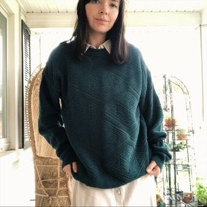 Vtg Teal Knit Sweater
